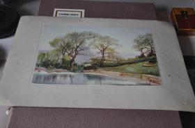 50年代各地方风景写生---中山公园暮色---张眉孙