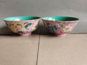 古董古玩清代五彩瓷碗一对