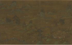 【复印件】仿真长卷:宫苑图卷,描绘古代宫苑中夏日景致,尺寸:555cm,横:46.6cm(含装裱)