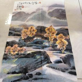 保真出售:福建省文史馆员 闽西画院院长,吴勋 山水,尺寸约68×45,,,002