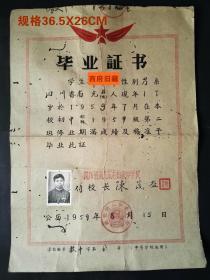 1959年,四川省南充县五龙中学校毕业证书,背面有修补