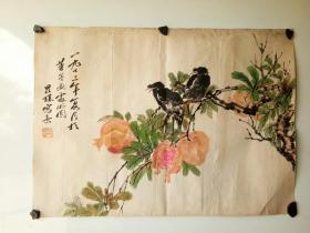 1973年老花鸟画一副   李昆璞  尺寸55x39