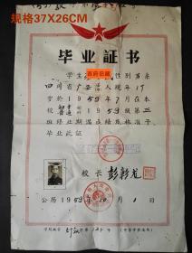 1959年,四川省广安第一初级中学校毕业证书,彭彰龙校长签发,背有修补