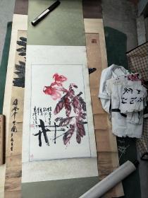 """广西国画大师,著名画家、柳州画院创始人汤漾""""鸡冠花""""画"""