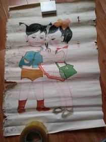 水粉画-两个小朋友