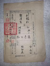 湖南司法法律史料,1951年常德市人民法院4张纸,50元