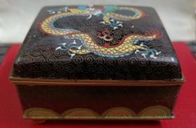 """民国时期""""云纹,五爪飞龙""""铜胎景泰蓝烟盒"""