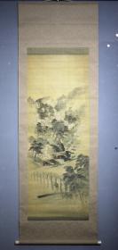 日本名家绘画:益田楳苑《岚山春渡图》(大尺幅,保真)