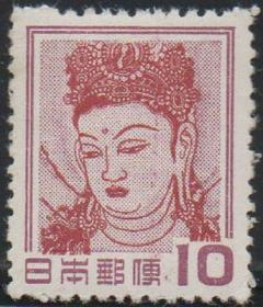 日本邮票A ,1959年动植物国宝,法隆寺大佛,佛教造像