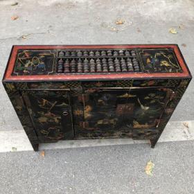 旧藏木胎漆器人物故事图案长方案桌带柜门柜子算盘,长72厘米,宽22厘米,高67厘米