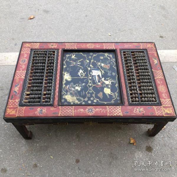 旧藏木胎漆器人物故事图案长方桌算盘,长92厘米,宽59厘米,高33厘米,