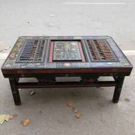 旧藏木胎漆器人物故事图案长方桌算盘,长90厘米,宽57厘米,高47厘米,