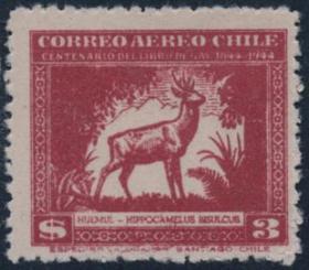 智利邮票,1944年自然史,马驼鹿,野生动物鸟类,ZM