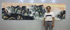 中国书画创作中心一级美术师曾松涛老师小丈二精品无水【泰山日出】360厘米*98厘米,百分百纯手绘真迹