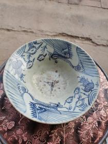 凤凰纹青花茶碗两个