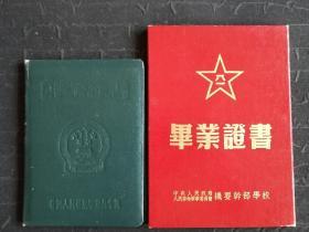 解放军机要干部学校和解放军炮兵学院证书(同一人)