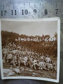 志愿军24军70师全体女兵于朝鲜合影老照片,前排中间有师政治卸主任乐时鸣等三位师干部,少见。