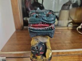 狮子老墨斗、木质细腻、造型精美、雕工大气、小裂、非常值得收藏。20-5.5-8cm