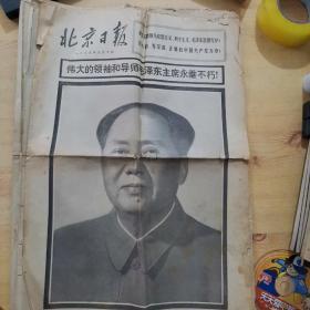 北京日报 1976年9月10日,11日、13日、15日、16日、18日、19日(第四版、第五版)8张合售