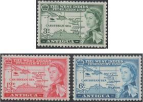 英联邦邮票B,安提瓜1958年1665年简·布劳地图集上的巴布达地图
