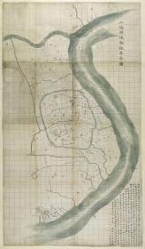 0034古地图1875清光绪元年上海县城厢租界全图。纸本大小52.32*89.15厘米。宣纸原色微喷印制。按需印制不支持退货