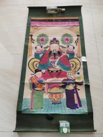 民国时期的财神五彩年画  挂图  一大张 保真包老  品相如图
