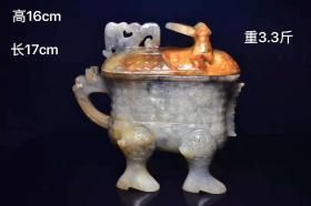 出土新疆和田玉籽料盖杯,玉质油润透亮,造型独特,纯手工雕刻