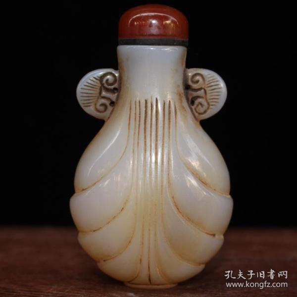 古董收藏 上等玛瑙鼻烟壶 做工精细 品相如图
