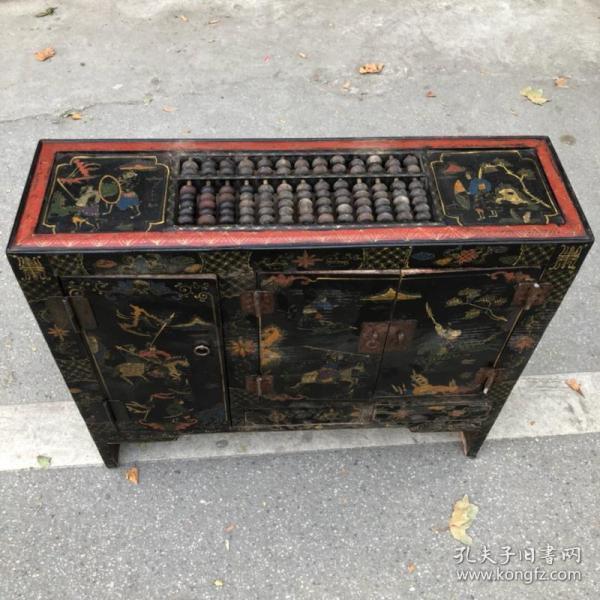 旧藏木胎漆器人物故事图案长方案桌带柜门柜子算盘