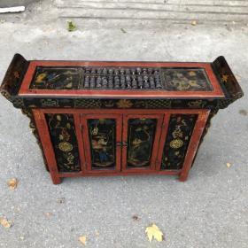 旧藏木胎漆器人物故事图案长方案桌带抽屉算盘