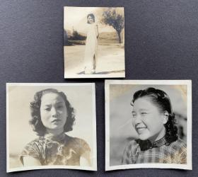 【慰安妇史料】抗战时期 日军镜头下的中国沦陷区旗袍美女 泛银老照片一组三枚(应为慰安妇)