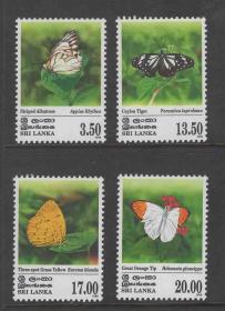 动物昆虫蝴蝶邮票 斯里兰卡1999年4全