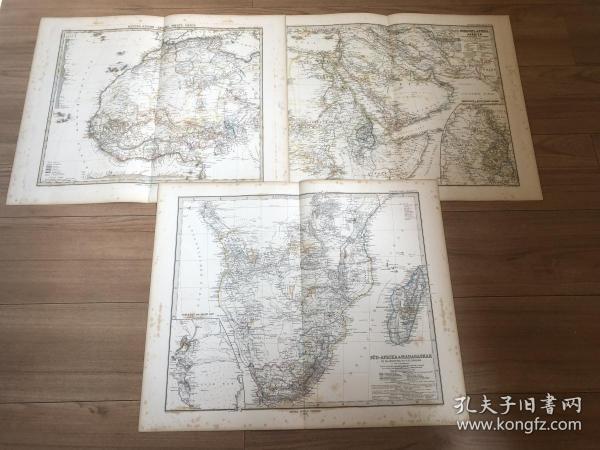 1877年非洲地图3张一套