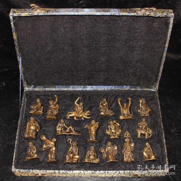 纯铜实心十八罗汉小件一套 做工精细 品相如图