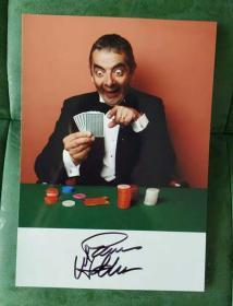 憨豆先生 罗温·艾金森 亲笔签名 照片7寸