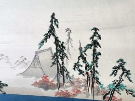 4开90回雕版拓印 狩野芳崖《东山眺望图》南画水墨调和之作 日本狩野派巨匠撰 手工极致复刻