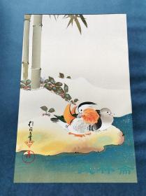 4开80度摺木版画 《雪竹鸳鸯图》 酒井抱一笔 琳派巨匠撰 日本极致复刻