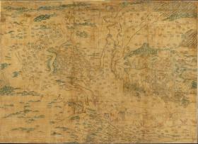 【复印件】仿真地图:中国黄河地图/Carte chinoise du fleuve jaune,横:303.3cm,纵:217.2cm