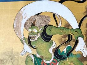 4开80度摺木版画 《风雷神图屏风-风神图》俵屋宗达 琳派巨匠撰 日本极致复刻