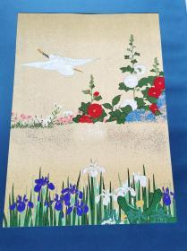 江户洛可可 酒井抱一《四季花鸟图屏风》 4开90遍雕版拓印 极致复刻 日本琳派巨匠撰
