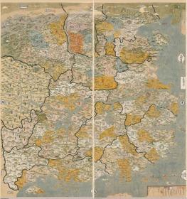 【复印件】仿真地图:大明省图,清代彩绘,2 轴,横:365.66cm,纵:391.08cm