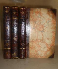 1798年  POETICAL WORKS of John Dryden 大诗人德莱顿《德莱顿诗全集》3/4小牛皮烫金精装古董书3册全 多张精美铜版画插图