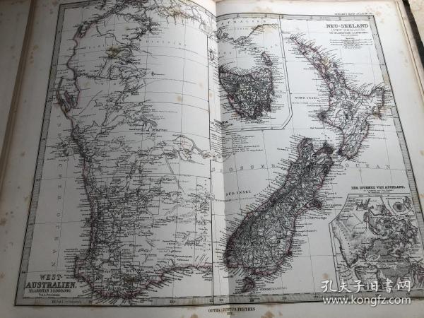 1877年新西兰和澳大利亚西部地图