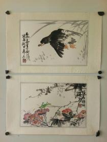 海派老画家 吴茀之    花鸟册页2个 原装旧裱 保存好 有轻微黄斑  每个尺寸35x23
