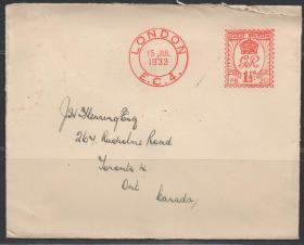 英国邮资机实寄封,伦敦1933年至加拿大多伦多,伊丽莎白女王