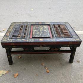 旧藏木胎漆器人物故事图案长方桌算盘1