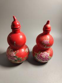 """现代,景德镇葫芦造型""""花开富贵""""酒瓶一对"""