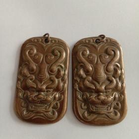 铜制龙头挂件(一对、共2个)