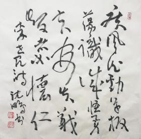 ★【顺丰包邮】【纯手绘】【沈鹏】纯手绘、四尺斗方书法(69*69cm)8买家自鉴。