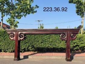 清代楠木独板条案,独板,两面云花,档花双层,全品,翘头雕花,做工精致细腻,一流品相,尺寸223.36.92cm